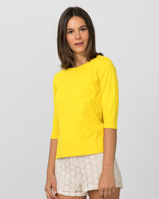 Shop Pineapple Yellow Round Neck 3/4th Sleeve T-Shirt-Back