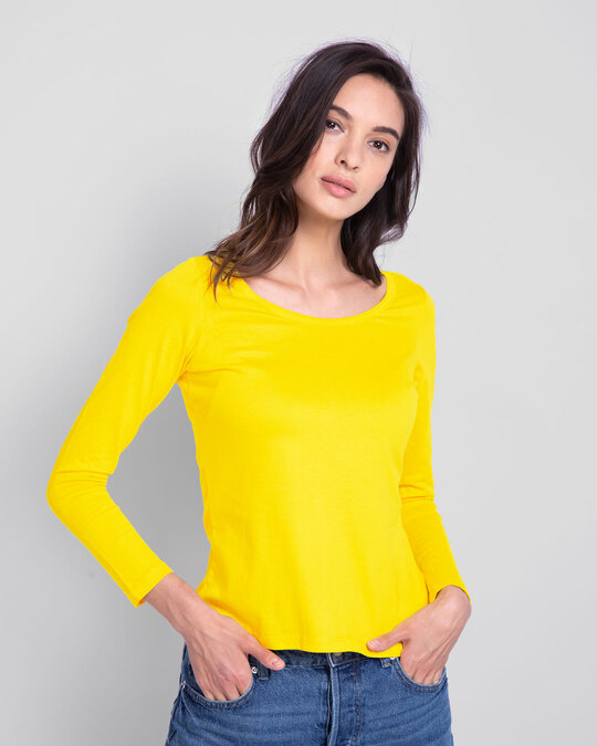 Shop Pineapple Yellow Round Neck 3/4th Sleeve T-Shirt-Front