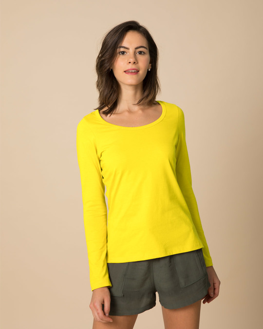 Shop Pineapple Yellow Scoop Neck Full Sleeve T-Shirt-Front