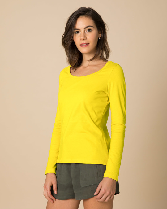 Shop Pineapple Yellow Scoop Neck Full Sleeve T-Shirt-Back