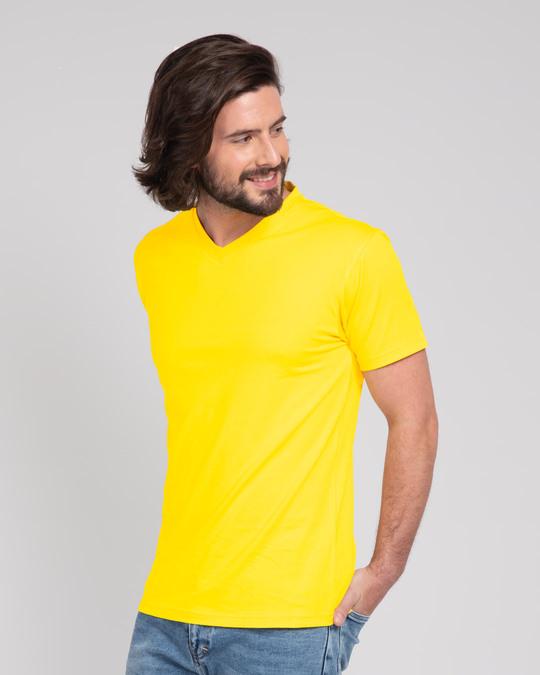 Shop Pineapple Yellow V-Neck T-Shirt-Back