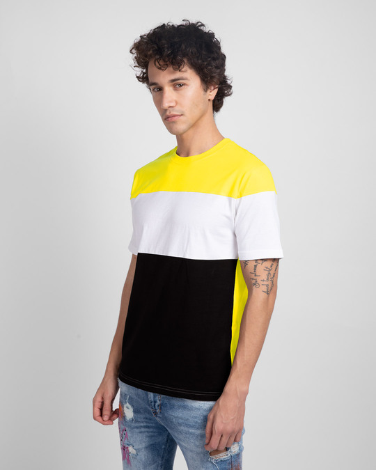 Shop Pineapple Yellow White & Black 90's Vibe Panel T-Shirt-Full