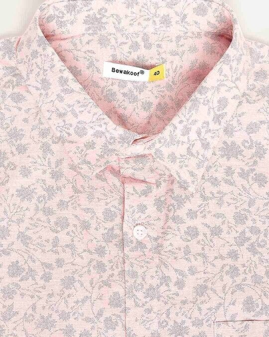 Shop Pink Blue Cotton Melange Shirt