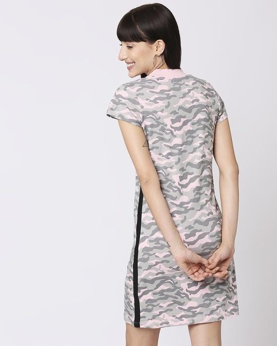 Shop Pink Camo - Coral Blush High Neck Pocket Dress-Full