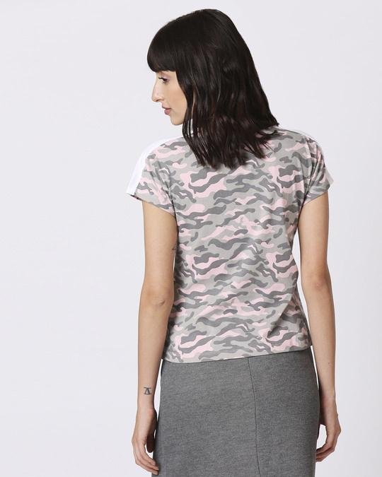 Shop Pink Camo Plain Shoulder Sleeves Panel Half Sleeves Camo T-Shirt-Full