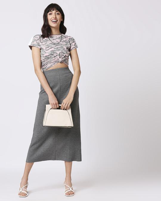 Shop Pink Camo Plain Shoulder Sleeves Panel Half Sleeves Camo T-Shirt