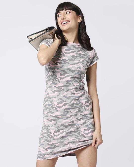 Shop Pink Camo Round Neck Pocket Dress-Front