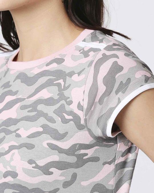 Shop Pink Camo Round Neck Pocket Dress