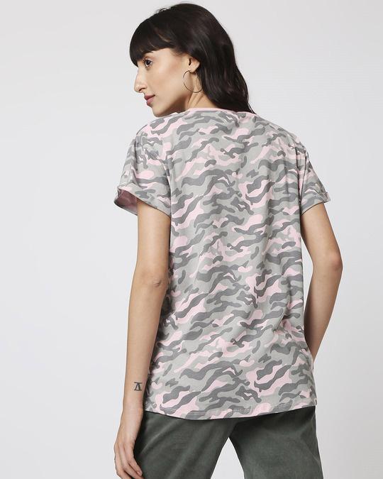 Shop Pink Camo Tie Up Boyfriend T-Shirt-Full
