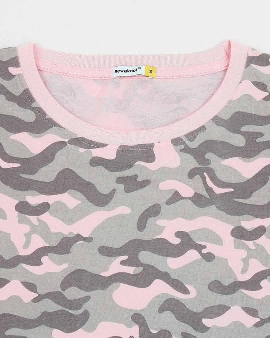 Shop Pink Camo Tie Up Boyfriend T-Shirt