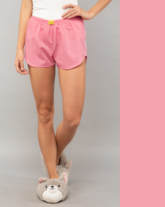 Shop Pink Carnation Plain Boxer-Front