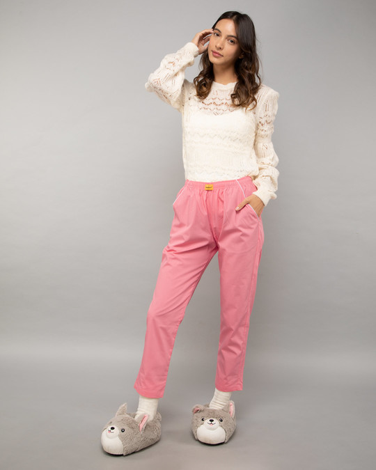 Shop Pink Carnation Plain Pyjama-Full
