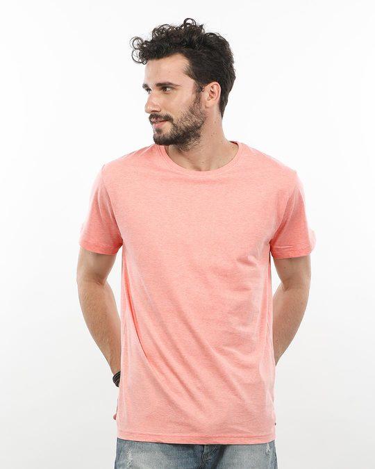 Shop Pink Melange Half Sleeve T-Shirt-Front