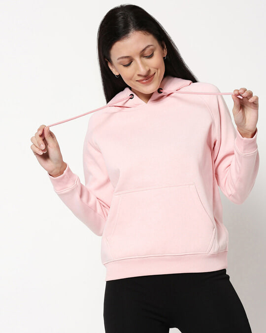 Shop Pink Melange Hoodie Sweatshirt-Front