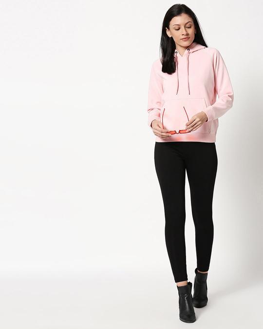 Shop Pink Melange Hoodie Sweatshirt