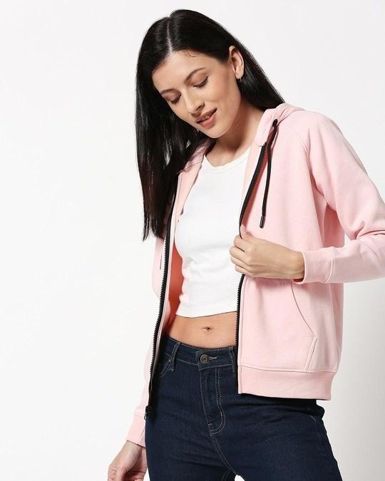 Shop Pink Melange Zipper Hoodie-Back