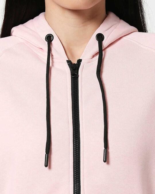 Shop Pink Melange Zipper Hoodie