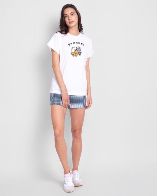 Shop Pizza Cat Boyfriend T-Shirts White-Full