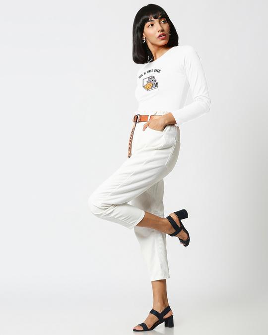 Shop Pizza Cat Full Sleeves T Shirt White-Full