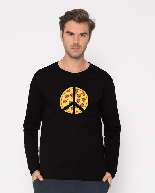 Shop Pizza Peace Full Sleeve T-Shirt-Front