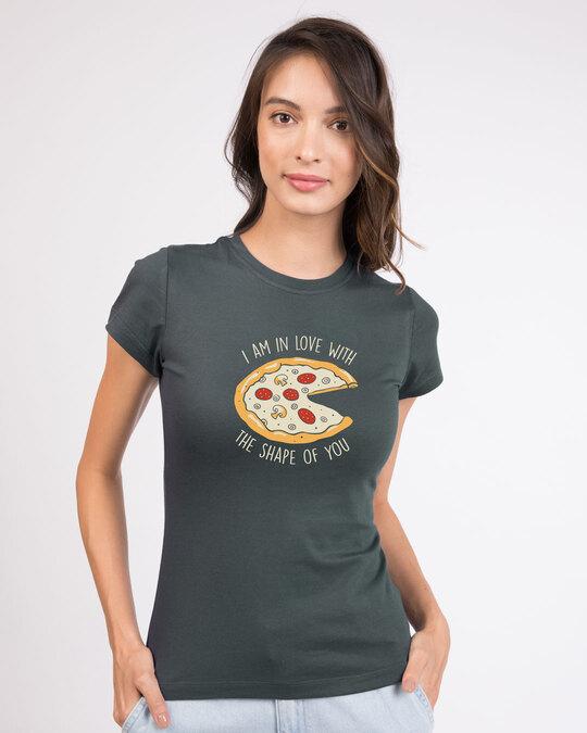 Shop Pizza Shape Half Sleeve T-Shirt-Front