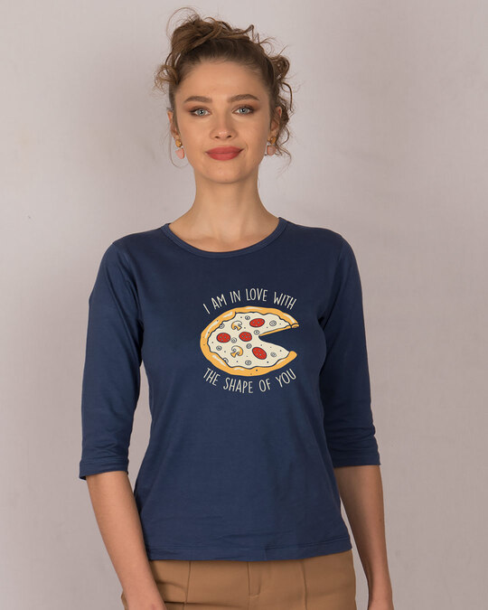 Shop Pizza Shape Round Neck 3/4th Sleeve T-Shirt-Front