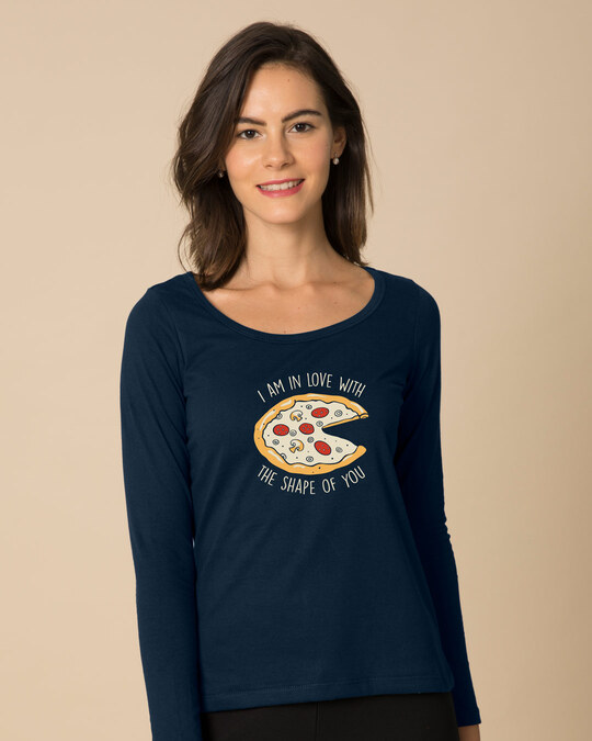 Shop Pizza Shape Scoop Neck Full Sleeve T-Shirt-Front