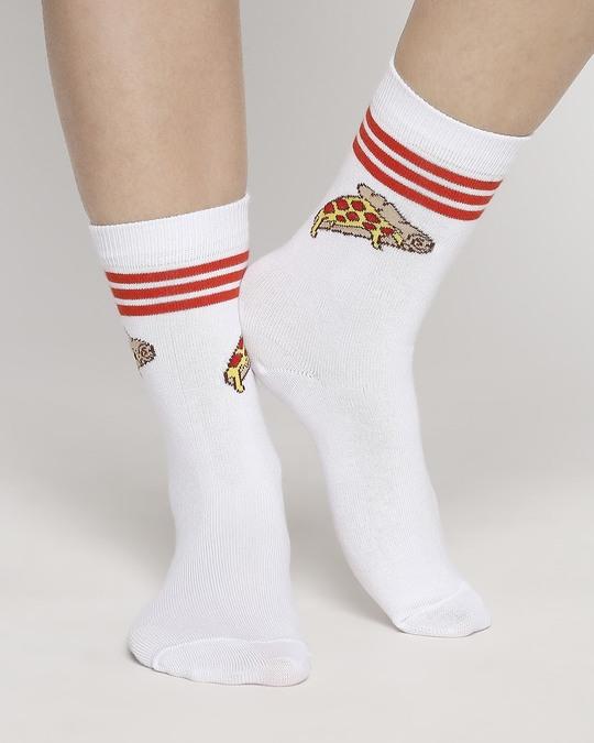 Shop Pizza Stripe Full Length Socks-Front