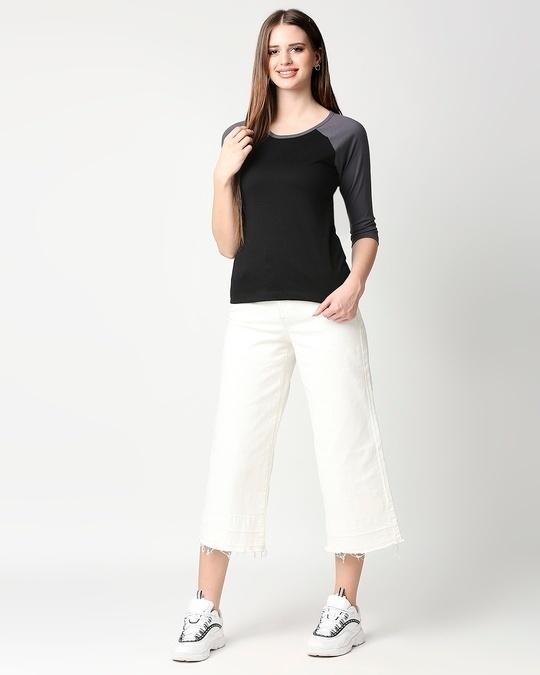 Shop Plain 3/4th Sleeve Raglan T-Shirt