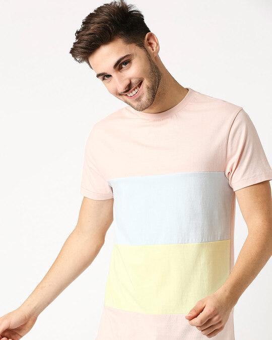 Shop Seashell Pink Candy Color Block T-Shirt-Back