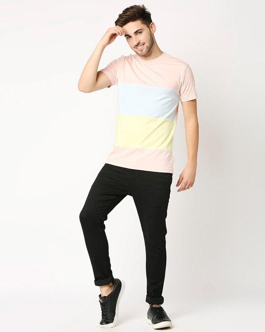 Shop Seashell Pink Candy Color Block T-Shirt-Full