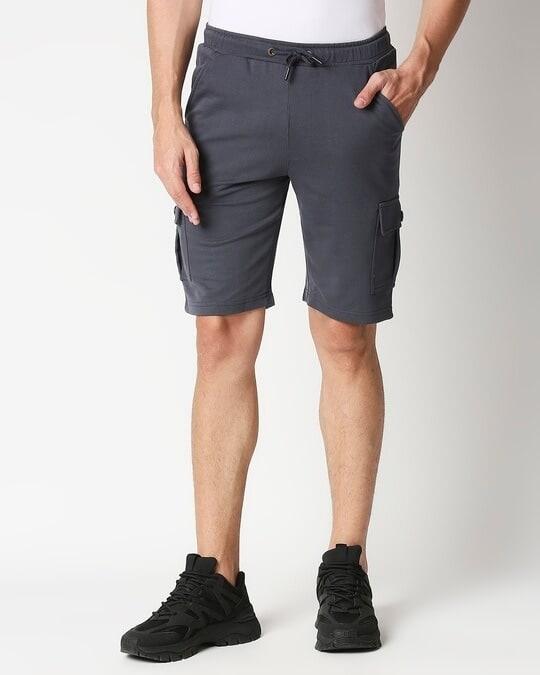 Shop Plain Cargo Shorts-Back