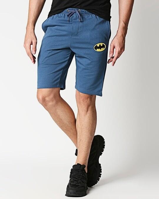 Shop Plain Casual Badge Shorts-Front