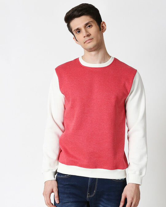 Shop Red Melange Contrast Sleeve Fleece Sweater-Back
