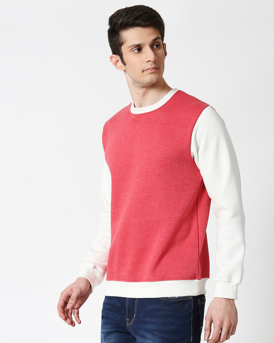 Shop Red Melange Contrast Sleeve Fleece Sweater-Design