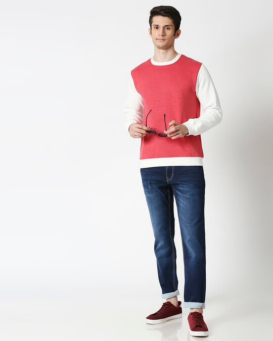 Shop Red Melange Contrast Sleeve Fleece Sweater