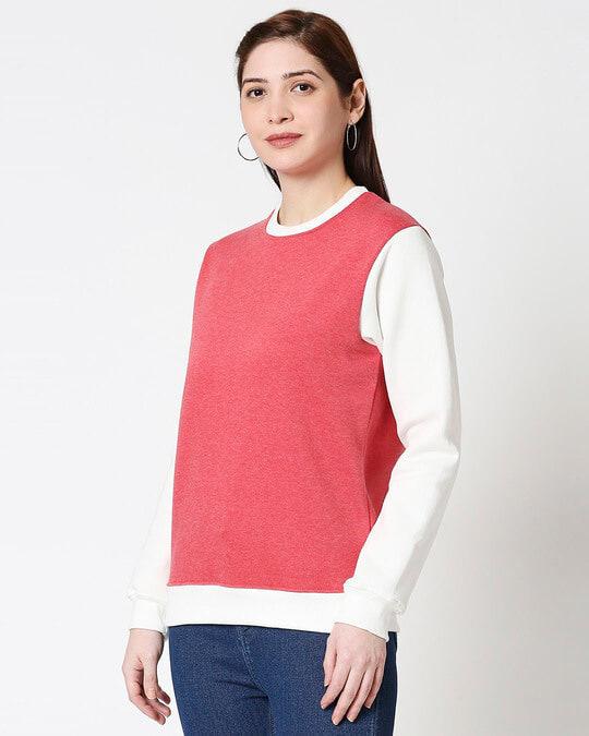 Shop Red Melange Contrast Sleeve Fleece Sweater-Design