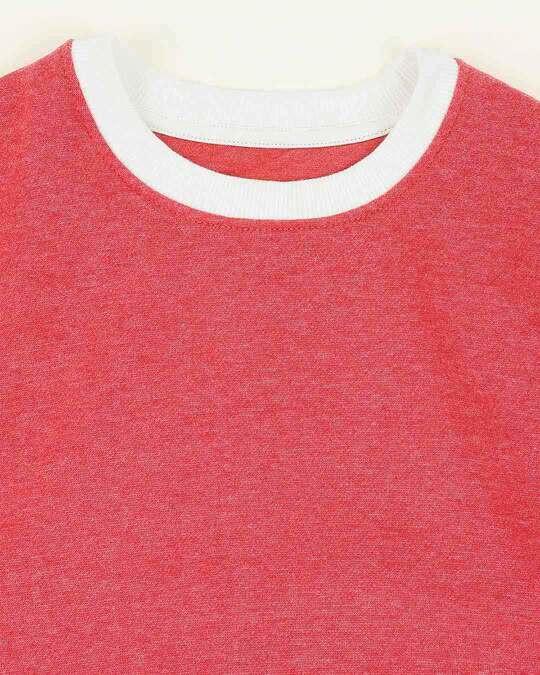 Shop Red Melange Contrast Sleeve Fleece Sweater