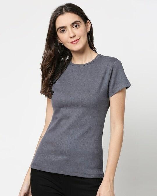 Shop Women's Half Sleeve Rib T-Shirt-Front