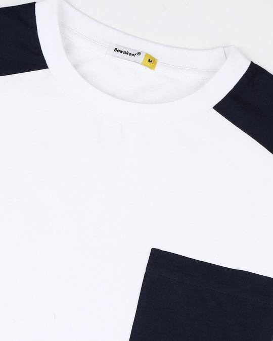 Shop White Color Block Pocket T-Shirt