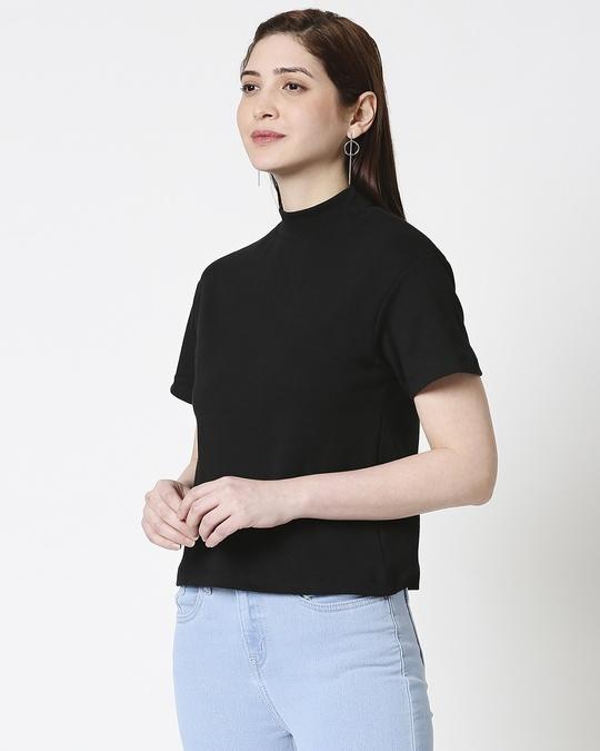 Shop Plain Half Sleeves Turtle Neck T-Shirt-Design