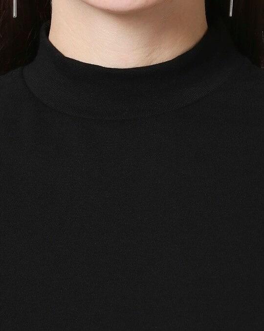 Shop Plain Half Sleeves Turtle Neck T-Shirt