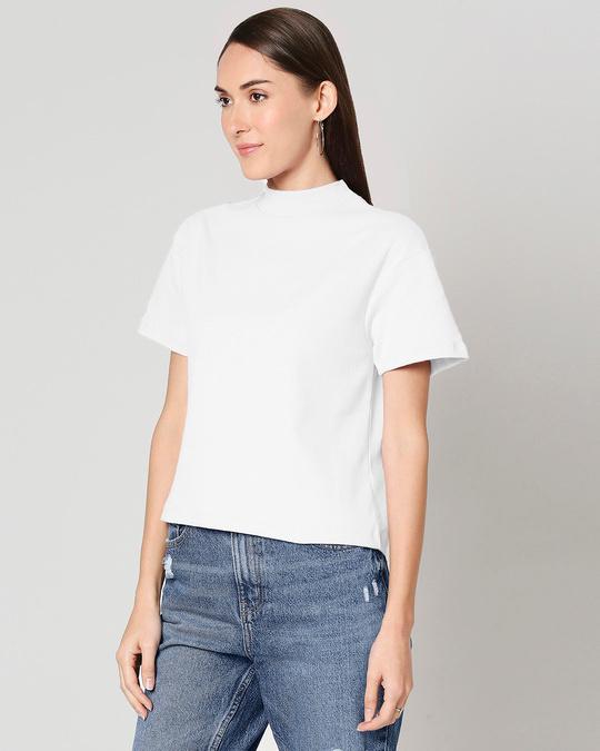 Shop Plain Half Sleeves Turtle Neck T-Shirt-Back