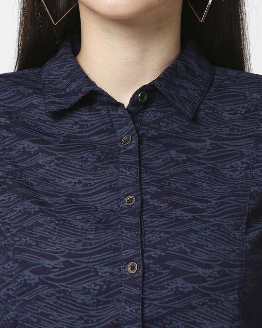 Shop Women Indigo Printed Shirt