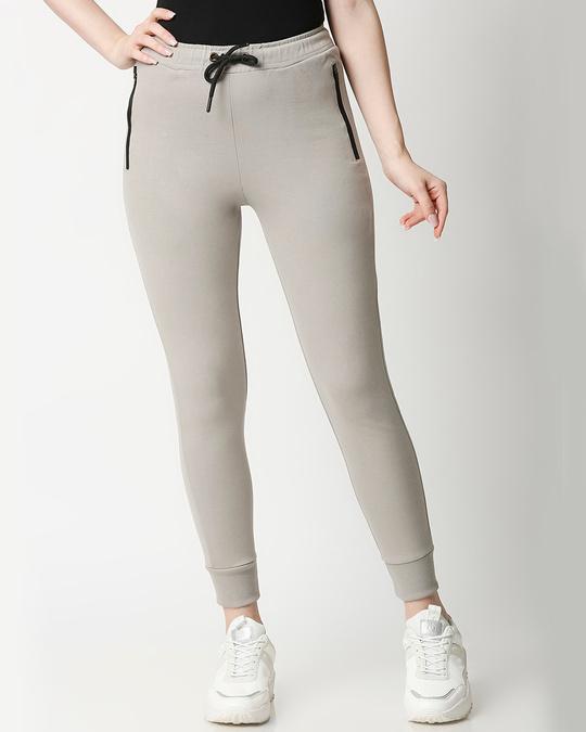 Shop Light Grey Zipper Joggers-Front