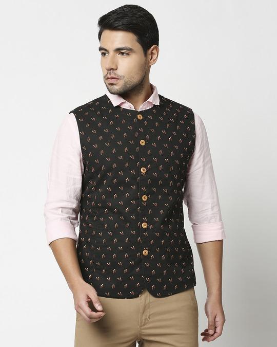 Shop Men's All Over Printed Nehru Jacket-Back
