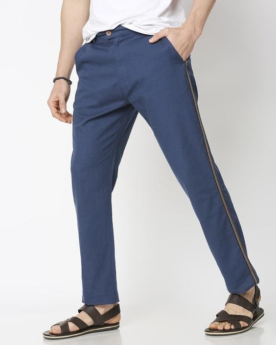 Shop Men's Solid Side Tape Indo Fusion Pants-Front