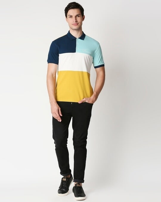 Shop Warm Olive Art is Art Color Block Polo-Full