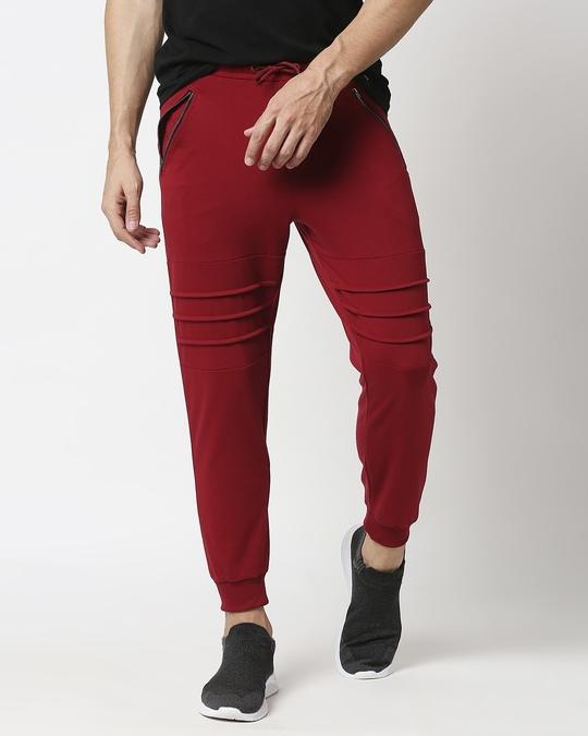 Shop Plain Cargo Zipper joggers-Front