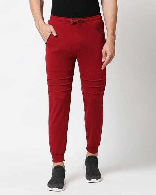 Shop Plain Cargo Zipper joggers-Back